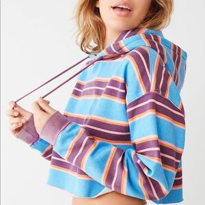 OUT FROM UNDER STRIPED CROP HOODIE